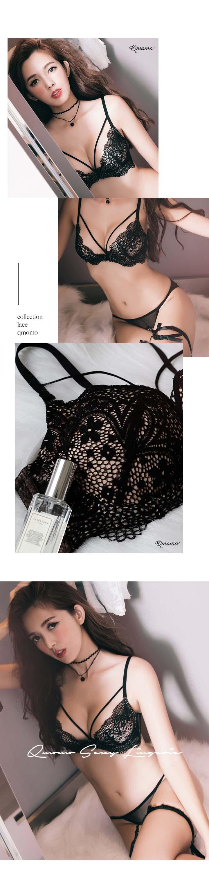 Qmomo裸漾夜巴黎W鋼圈W Plus 爆乳成套內衣(黑)