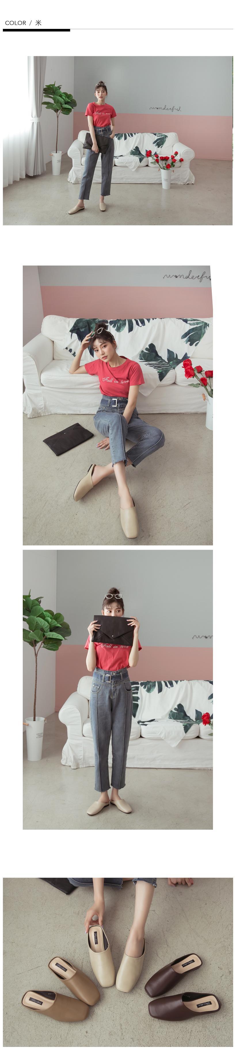 FM shoes 正韓-極簡方頭穆勒鞋