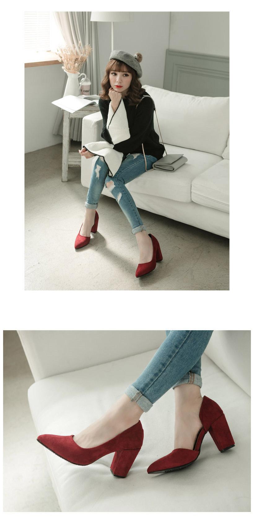 FMshoes-JJ美型內側挖空細絨高跟鞋(紅色)
