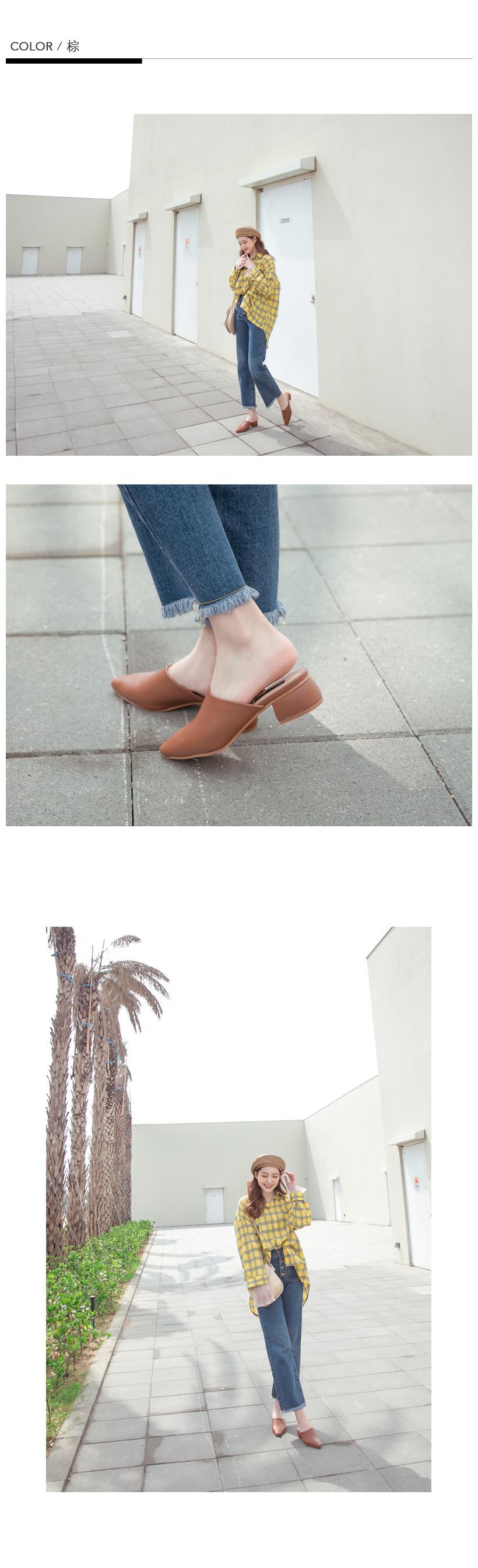 FMshoes 韓-小方頭低跟穆勒鞋