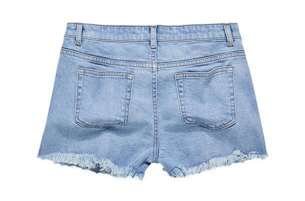 CACO米妮款鬚邊短褲(淺藍)