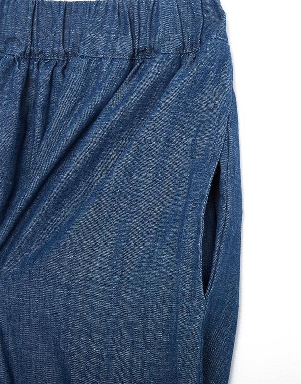 CACO 鬆緊腰牛仔寬褲
