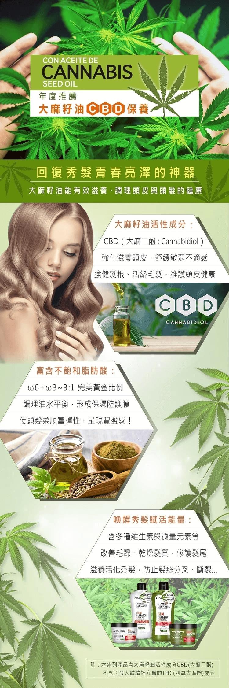 西班牙babaria大麻籽油3合1護髮膜