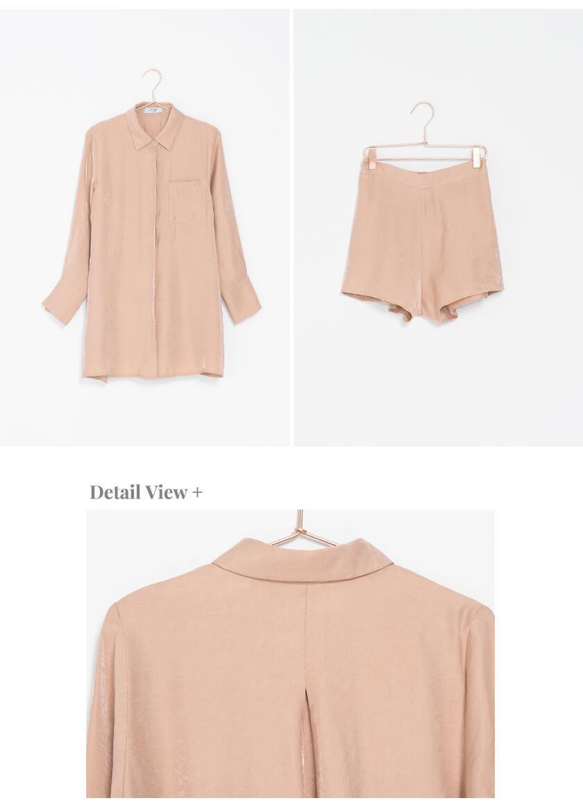 CHECK2CHECK Cheeky慵懶緞面微光澤襯衫套裝