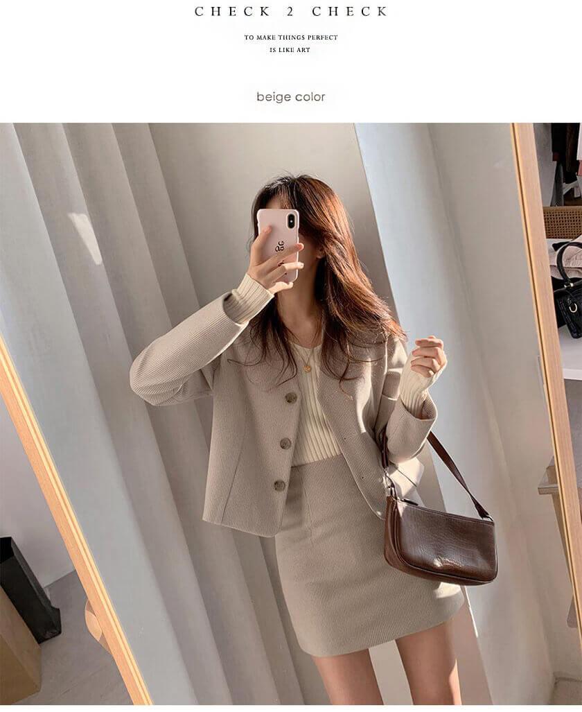 CHECK2CHECK 簡約千鳥格V領外套+包臀短裙套裝