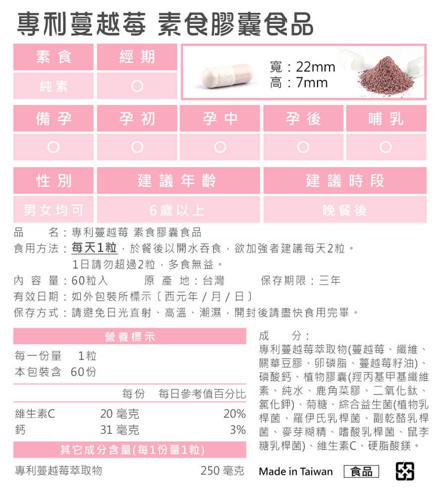 BHK's專利蔓越莓素食膠囊